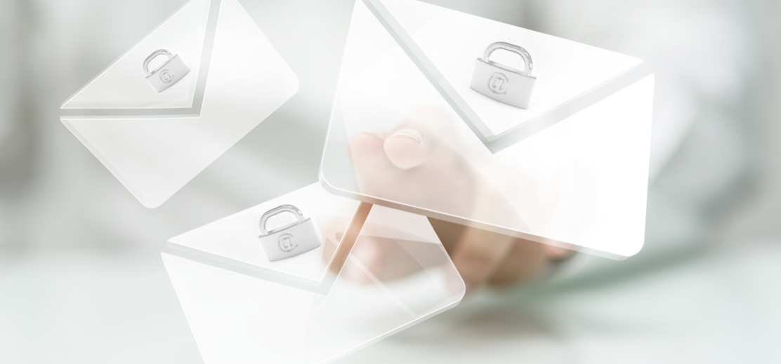 an overlay of white photos with mail envelopes and a lock for email security