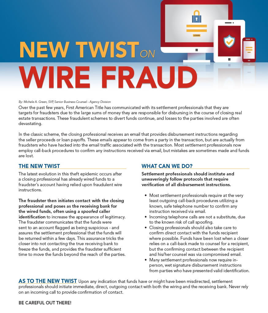 Real Estate Pros and A New Version of Wire Fraud