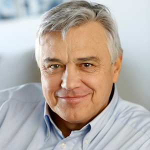 customer reviews mature man silver hair white shirt headshot