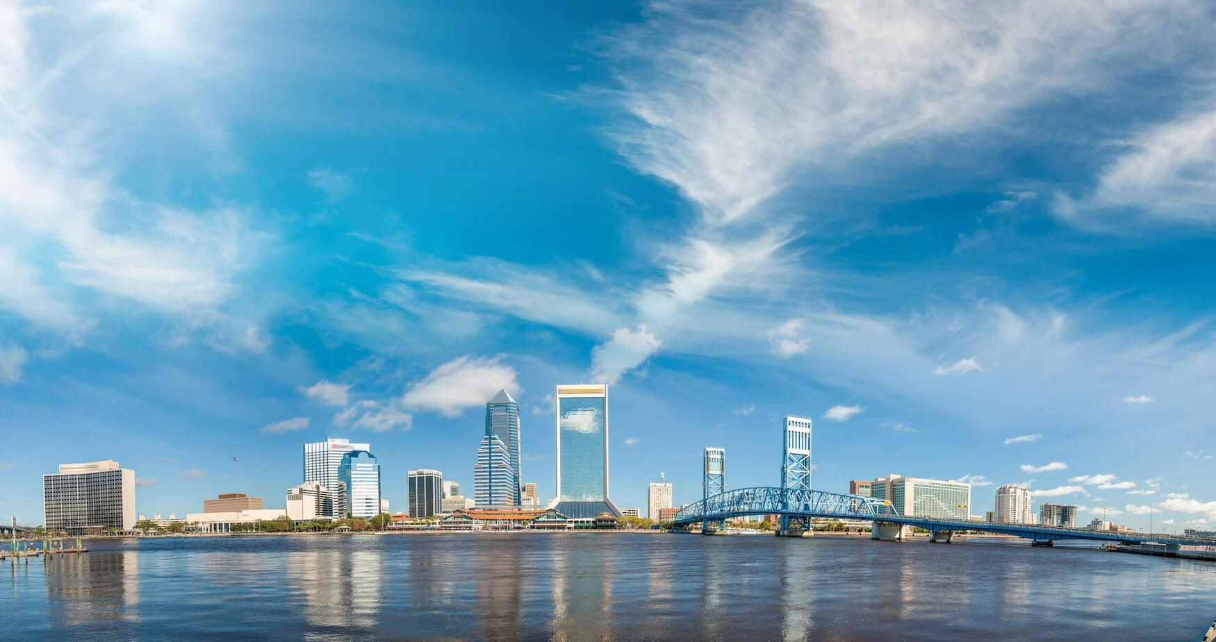Jacksonvile Florida skyline and blue sky rx buildings copy