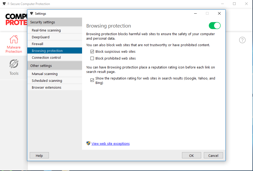 Screen shot of Device Protection from F-Secure - Browsing Protection.