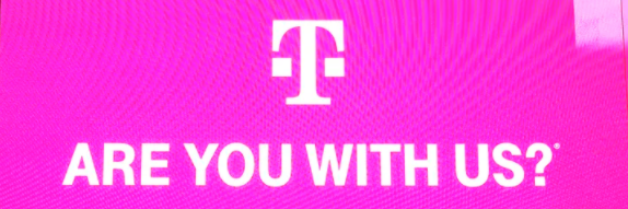 T-Mobile logo and slogan in pink banner