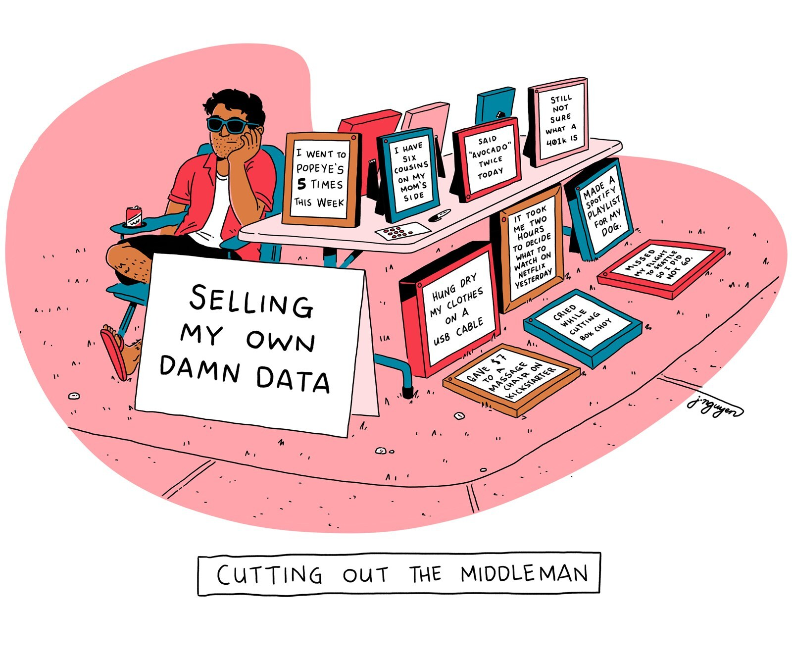 Selling my own data - cartoon by Jeremy Wins