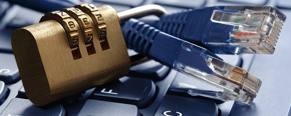 photo image of blue LAN cables on a keyboard with a combination lock for home network cybersecurity