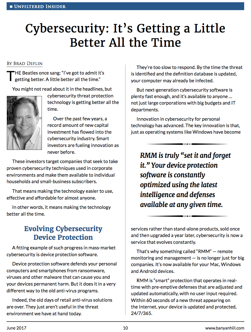 Cybersecurity: It's Getting a Little Better - All the Time, Redux.