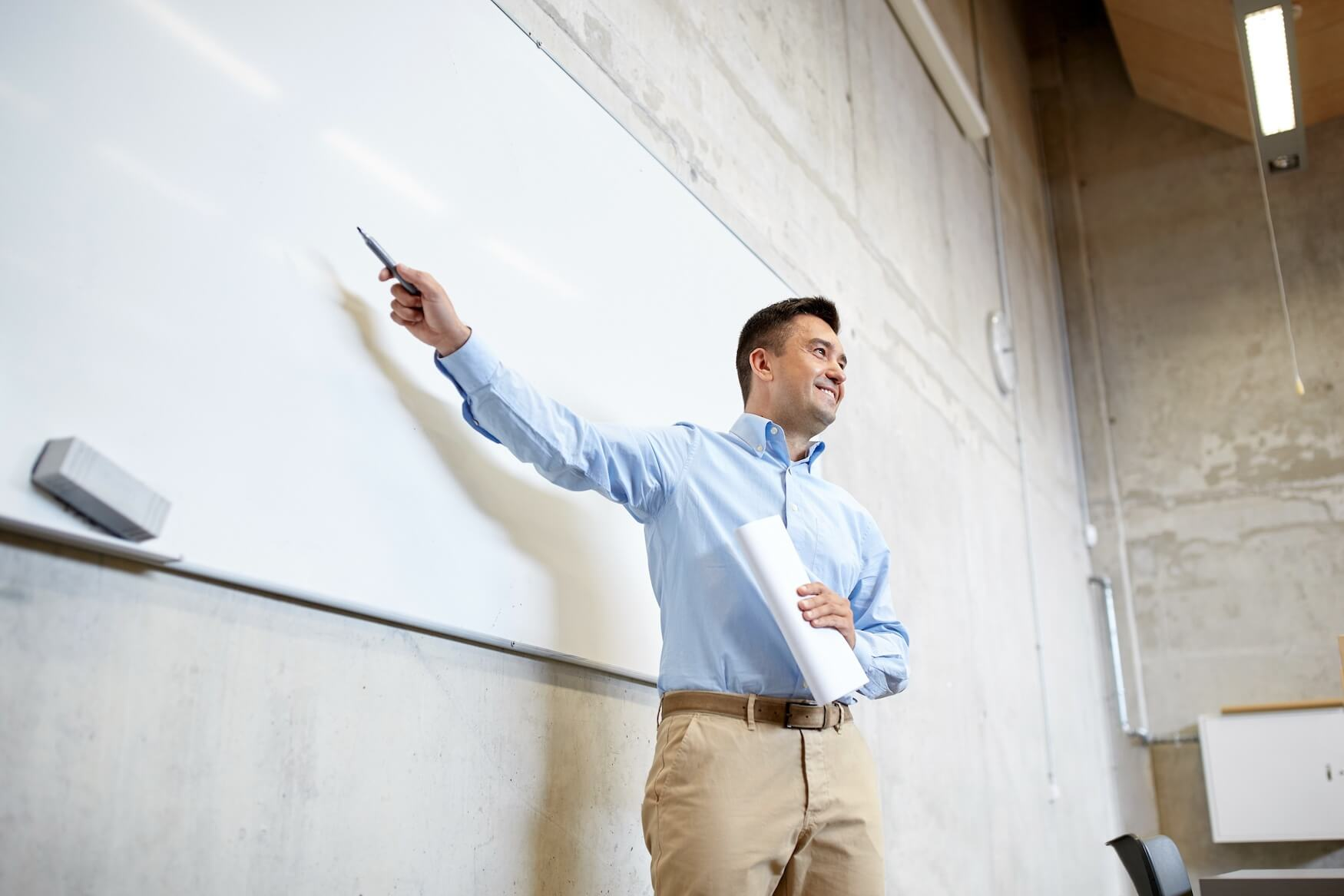 white board man pointing rx